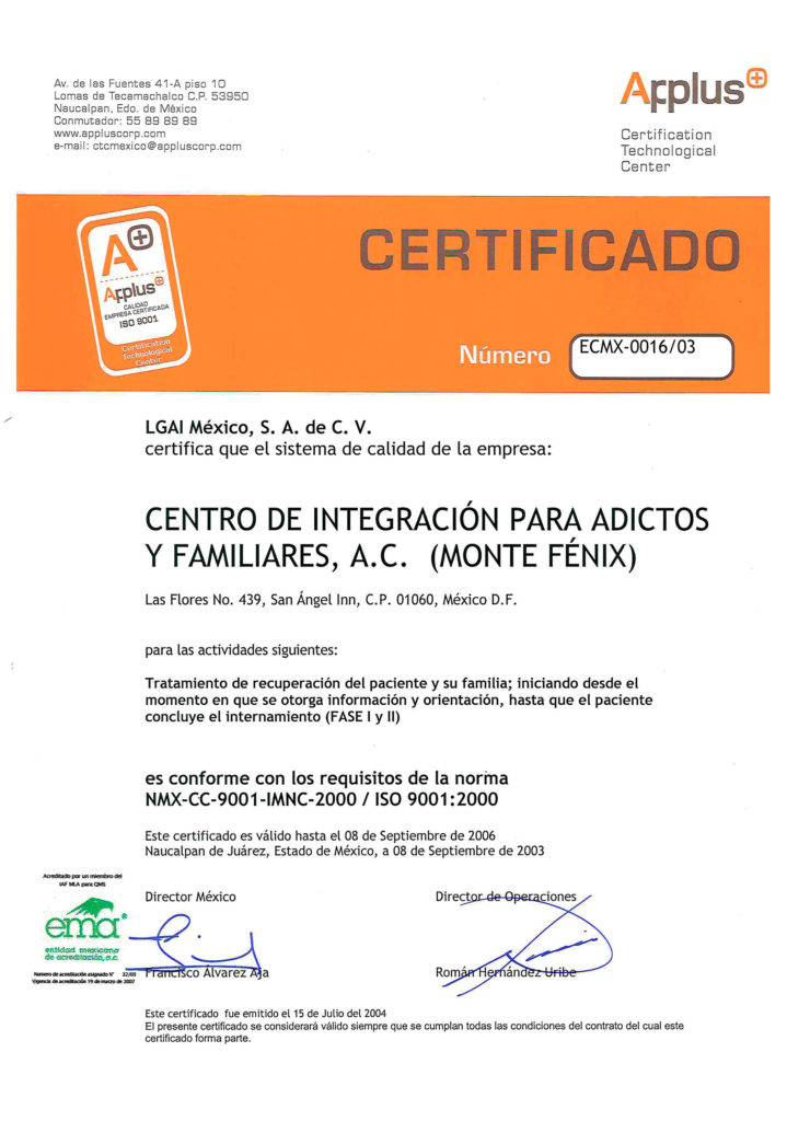 Certificado Monte Fénix appluss